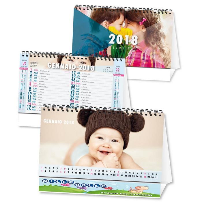Calendario Fotografico Personalizzato.Calendario Da Tavolo 2018 Con Foto Bambini Personalizzato Su Due Lati
