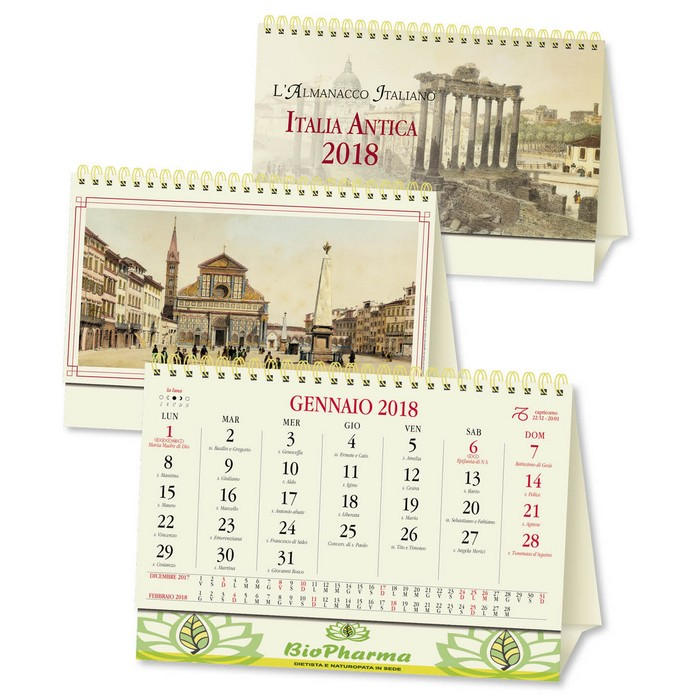 Italia Calendario.Calendario Da Tavolo 2018 Italia Antica Personalizzato Su Due Lati