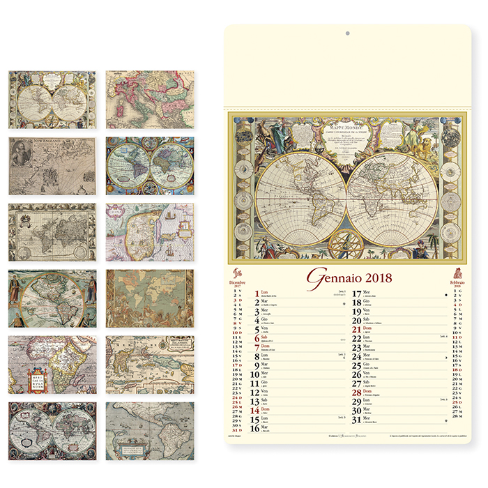 Calendario Antico.Calendario Da Parete 2018 Mappe Antiche