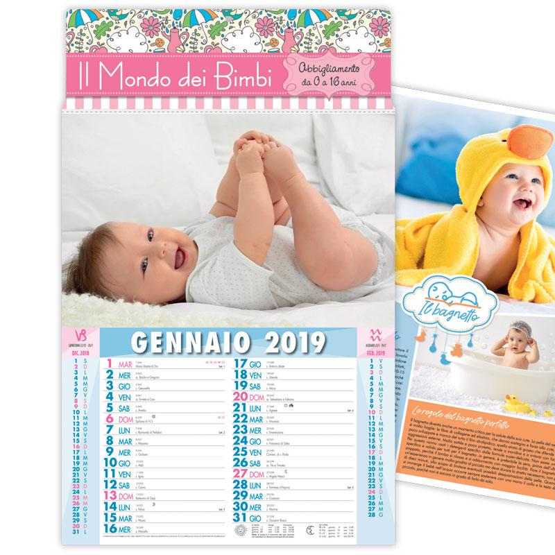Calendario Bimbi.Calendario 2019 Illustrato Con Tema Bambini